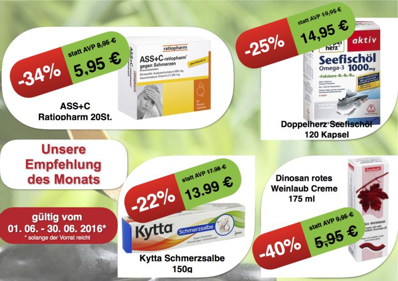 Angebote Nordkreuz Apotheke: ASS+C Ratiopharm, Doppelherz, Kytta, Dinosan